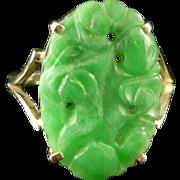 Victorian Jade Ring Hand Carved Jade Ring Circa 1900