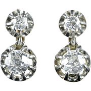 Antique Victorian French 1.66 Carat Old Cut Diamond Gold Double Drop Earrings