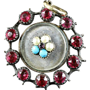 Antique Georgian Forget Me Not Morning Pendant 18ct Gold With Locket - 1780