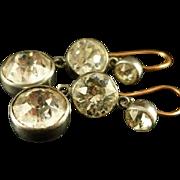 Georgian 19th Century Trilogy Silver/gold Paste Earrings
