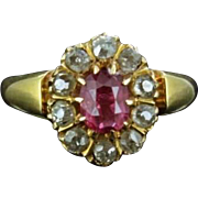 Victorian Pink Sapphire & Diamond 18ct Gold Ring Dated 1891
