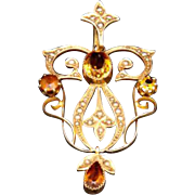 Antique Victorian 15ct Citrine Pearl Pendant Circa 1915