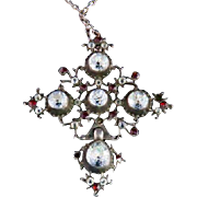 Antique Georgian Silver Old Cut Paste & Garnet Pendant & Chain - 1780