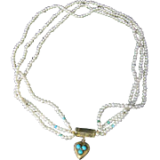 Antique Georgian Triple Pearl & Turquoise Necklace With Georgian Gold Heart Locket Clasp