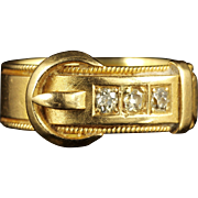Victorian Diamond Buckle Ring 18ct Gold Dated 1883