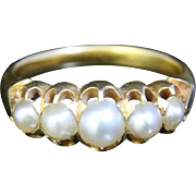 Victorian Five Stone Pearl Ring - 18ct Gold
