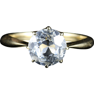 Antique Victorian White Sapphire Solitaire Engagement Ring