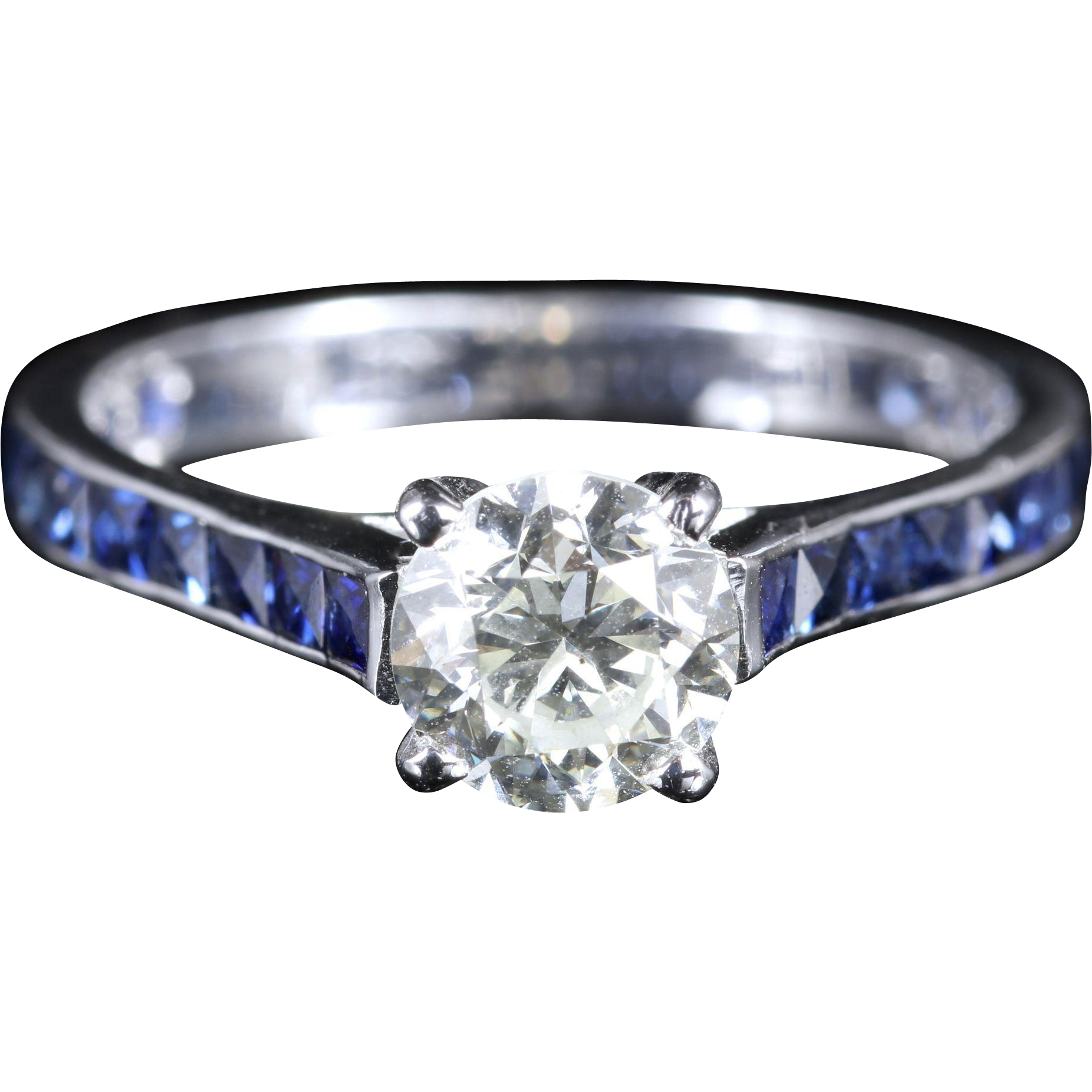 Antique Edwardian Diamond Engagement Ring Sapphire Shoulders from