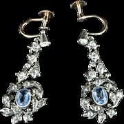 Victorian Blue White Paste Earrings