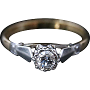 Antique Edwardian Diamond Solitaire Ring - 18ct Gold & Plat