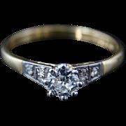 Diamond Solitaire Ring 18ct Gold and Platinum Circa 1915