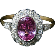 Antique Edwardian Pink Sapphire Diamond Cluster Ring Circa 1915