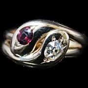 Antique Victorian Diamond Garnet Snake Ring - Dated 1910
