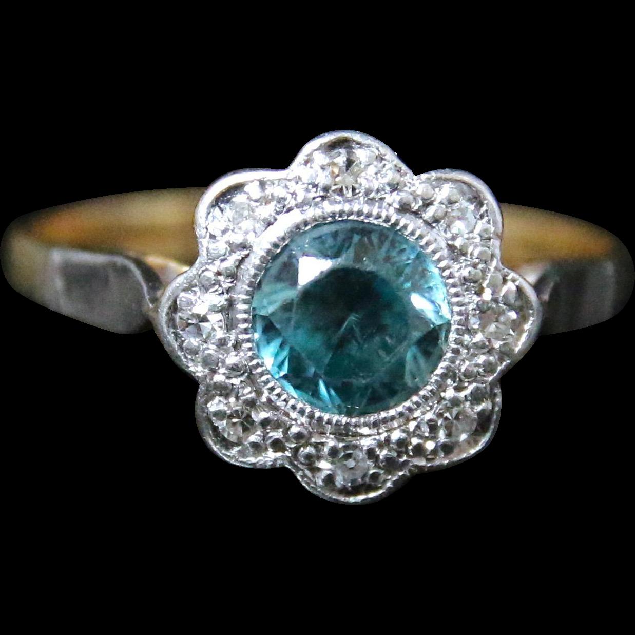 antique edwardian blue zircon ring 18ct