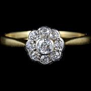 Antique Edwardian Diamond Cluster Ring - 18ct Gold