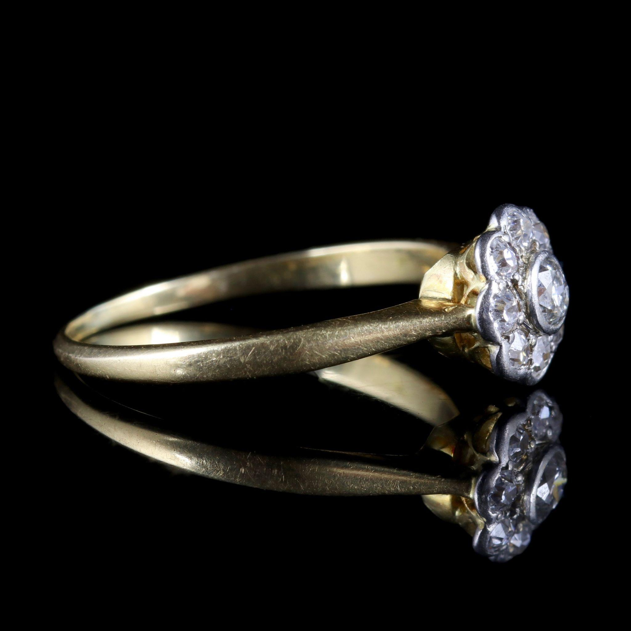 Antique Edwardian Diamond Cluster Ring 18ct Gold from antique