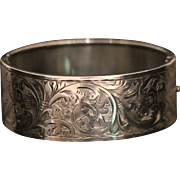 Antique Victorian Silver Bangle - Engraved All the Way Around - Dated 1858