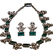 Antique Georgian Paste Necklace & Matching Earrings - Emerald Green