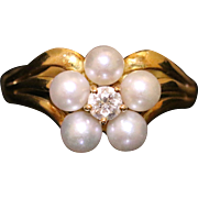 Antique Georgian Natural Pearl & Diamond Ring - Circa 1800