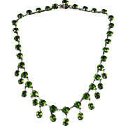 Antique Victorian Silver Green Paste Necklace - Dropper Necklace Circa 1880