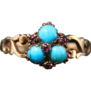 Antique Georgian Turquoise & Ruby Ring - 18ct Gold Circa 1780