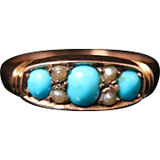 Antique Victorian Turquoise & Pearl Ring - Dated Chester 1902