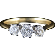 Antique Edwardian Diamond Trilogy Ring - Three Stone Ring - Perfect Engagement