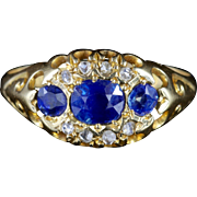 Antique Edwardian Sapphire & Diamond Ring - Dated Chester 1903