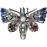 Antique Victorian Diamond Butterfly Pendant - Sapphires and Rubies Circa 1900
