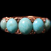 Antique Victorian Turquoise & Diamond Ring - 5 Stone Turquoise & Diamond 18ct Gold