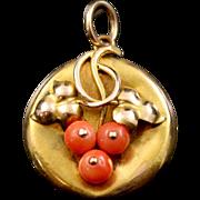 Antique Gold Coral Locket - Circa 1900 - 15ct Gold
