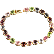 Multi Gemstone Bracelet  Peridot Quartz Topaz Garnet