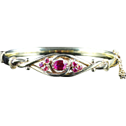 Antique Victorian Ruby Bangle 18ct Gold