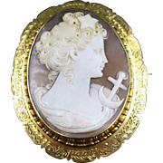 Antique Victorian Cameo Gold Brooch - Circa 1860