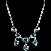 Antique Victorian Aquamarine Paste Necklace - Circa 1880