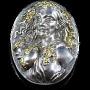 Antique Victorian Silver/gold Cameo Brooch - Circa 1860