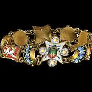 Antique Victorian Micro Mosaic Bracelet Doves & Beetles Circa 1860
