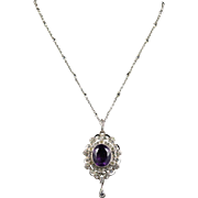 Antique Edwardian Amethyst Paste Pendant & Chain - Lovely Necklace Circa 1910