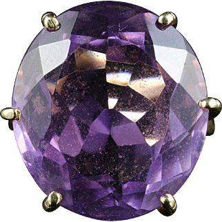 Antique Amethyst Solitaire Ring - Over 20ct