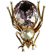 Antique Victorian Bug Brooch - Gold - Moonstone & Amethyst