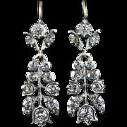 Antique Georgian Paste Earrings - Old Cut Paste Earrings - Silver/gold