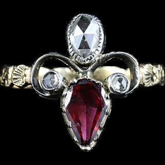 Antique Georgian Garnet & Diamond Ring -18ct Gold Fleur De Lis