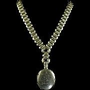 Antique Locket & Collar - Gold On Silver Circa 1880
