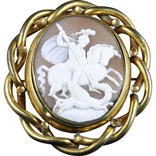 Antique Victorian Cameo Brooch - Large Cameo - George Slaying the Dragon
