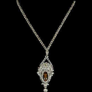 Antique Victorian Citrine Paste Pendant & Chain Circa 1900 - Suffragette