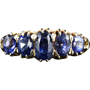 Antique Victorian Sapphire Ring - 5 Stone Sapphire - 18ct Gold
