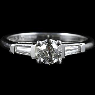 Antique Art Deco Diamond Solitarie Ring - Platinum - Engagement Ring