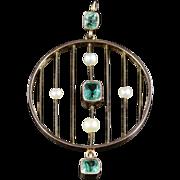 Antique Victorian Emerald Pendant - Circa 1880 - 18ct Gold