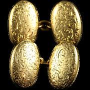 Antique Victorian Gold Cufflinks Circa 1880 Engraved