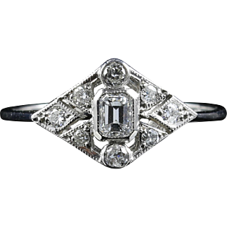Diamond Engagement Ring Old Cut Diamonds Art Deco